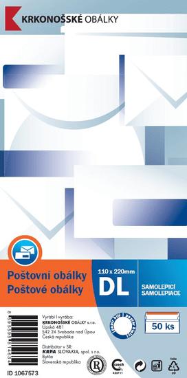 KRKONOŠSKÉ OBÁLKY Obálka DL samolepicí, 50 ks, 110 x 220