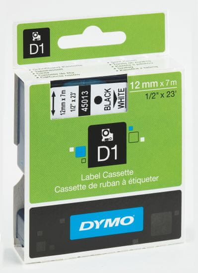Dymo Páska D1 12mm / 7m čierna na bielej