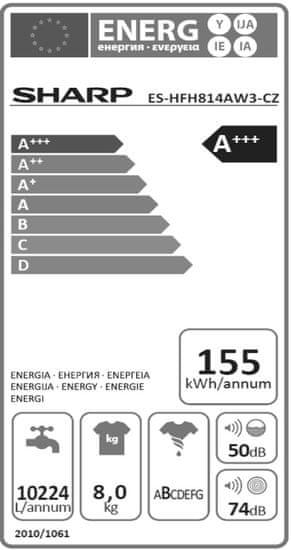 Sharp pračka ES HFH814AW3 + 10 let záruka na motor