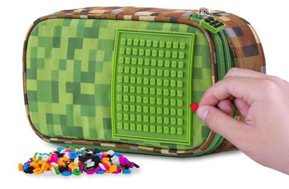 Pixie Crew Studentský penál Minecraft zeleno-hnědý
