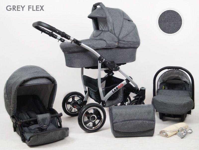 Sun Baby Kombinovaný kočárek Largo 3v1, grey flex