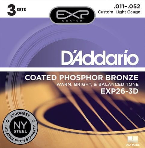 Daddario EXP26-3D Kovové struny pro akustickou kytaru