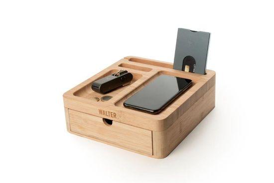 Walter Wallet podstavek Walter Bamboo Big Dock s predalom + brezžično polnjenje mobilnega telefona