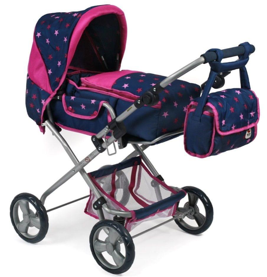 Bayer Chic Kočárek pro panenky BAMBINA modro - růžová hvězdička