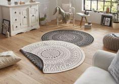 Bougari Kusový koberec Twin-Wendeteppiche 103101 creme schwarz 140x140 (průměr) kruh