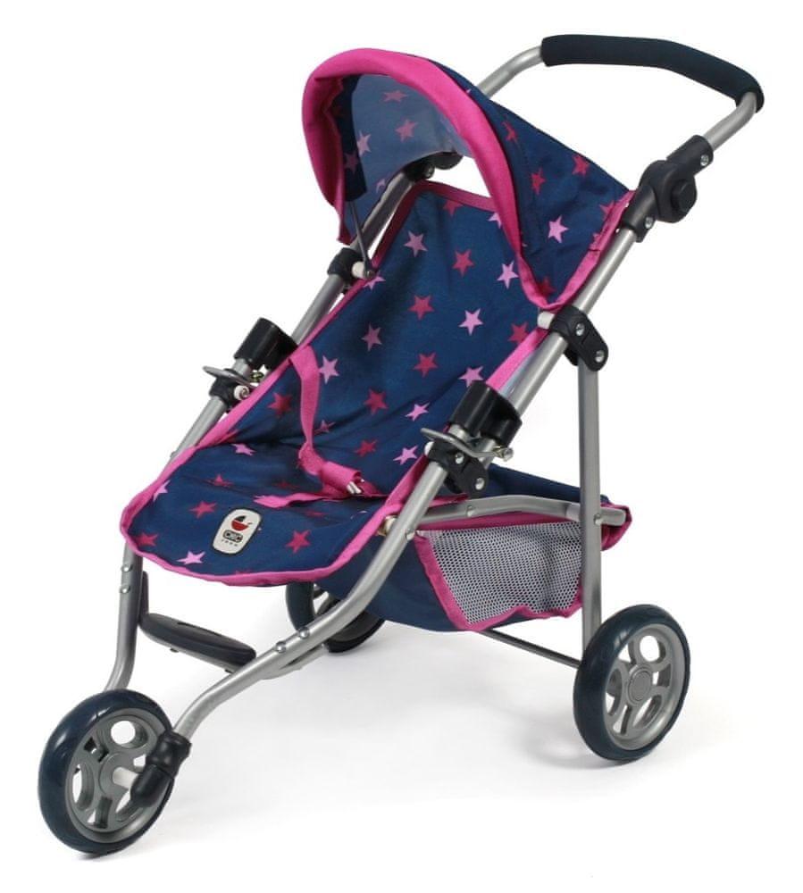 Bayer Chic Kočárek pro panenku LOLA modro - růžová hvězdička