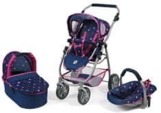 Bayer Chic voziček za lutke EMOTION ALL IN 3 V 1, modro - roza z zvezdicami