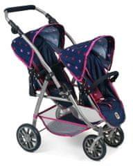 Bayer Chic voziček za dve lutki/dvojčka VARIO PRO, modro-roza z zvezdicami