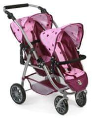 Bayer Chic voziček za dve lutki/dvojčka VARIO PRO, roza-vinska z zvezdicami