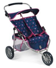 Bayer Chic otroški voziček za lutki/dvojčka, JOGGER PRO, modro - roza z zvezdicami