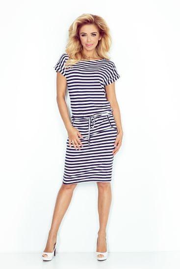 Numoco Dámske šaty 139-2, bielo-modrá, XL