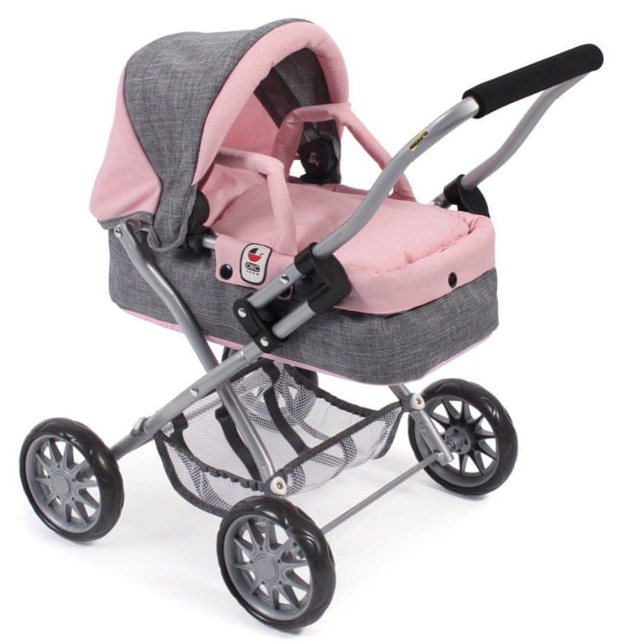 Bayer Chic Kočárek pro panenky SMARTY šedivo-růžová