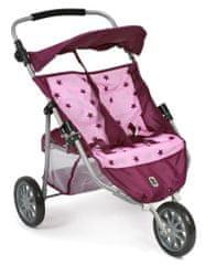 Bayer Chic otroški voziček za lutki/dvojčka, JOGGER PRO, roza - vinska z zvezdicami
