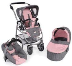 Bayer Chic voziček za lutke EMOTION ALL IN 3 V 1, sivo - roza