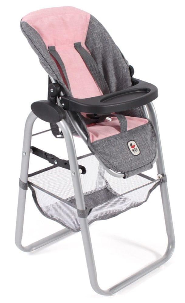 Bayer Chic Jídelní židlička pro panenku šedivo-růžová