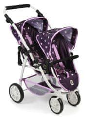 Bayer Chic voziček za dve lutki/dvojčka VARIO PRO, vijoličen z zvezdicami