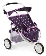 Bayer Chic otroški voziček za lutki/dvojčka, JOGGER PRO, vijoličen z zvezdicami