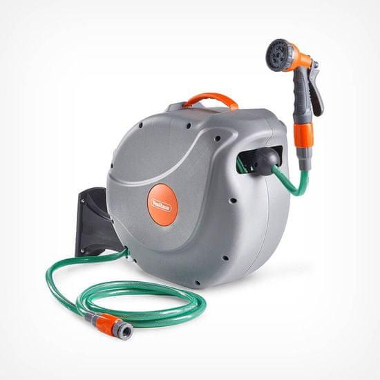 VonHaus zidni nosač za cijev od 30m, auto Roll-Up + mlaznica s 8 funkcija