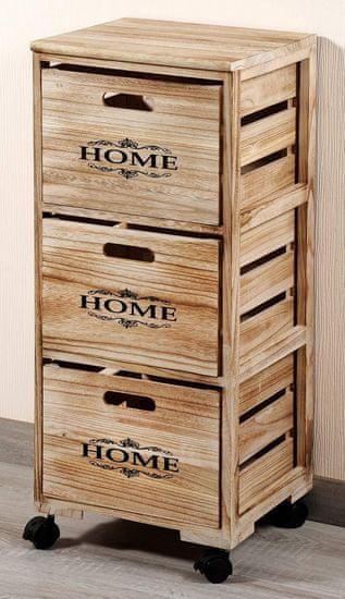 Kesper Regál pojízdný s úložnými dřevěnými boxy - dekor Home
