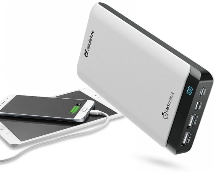 CellularLine Prémiová powerbanka PowerUp s Usb-C, 20000 mAh, bílá FREEP20000USBCW