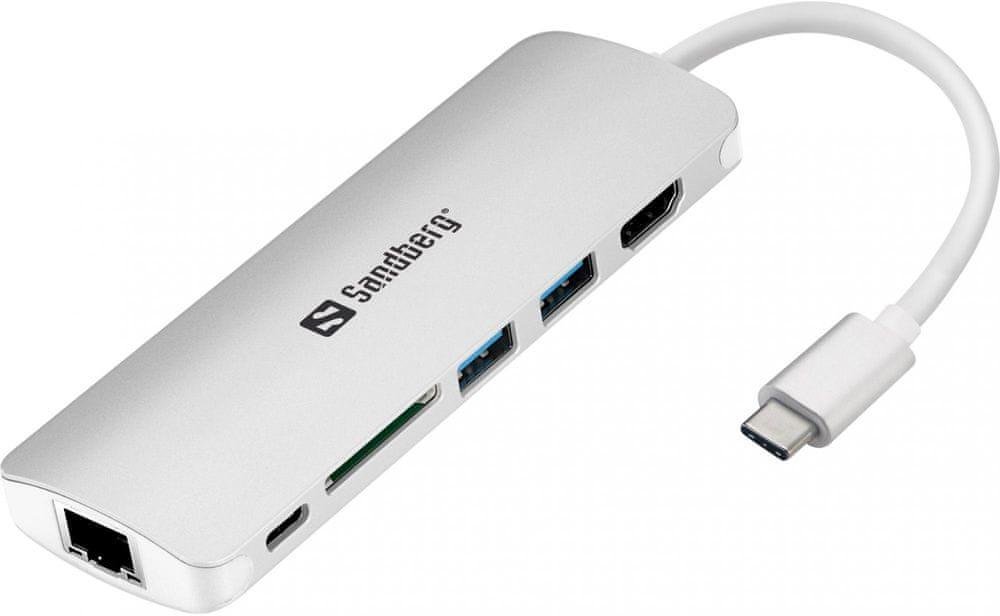 Sandberg USB-C Dock HDMI+LAN+SD+USB, 61 W, 136-18