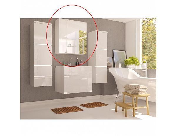 TEMPO KONDELA Skříňka se zrcadlem MASON WH14, bílá / bílý HG