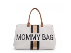 Childhome Mommy Bag Big Canvas Off White Stripes Black/Gold