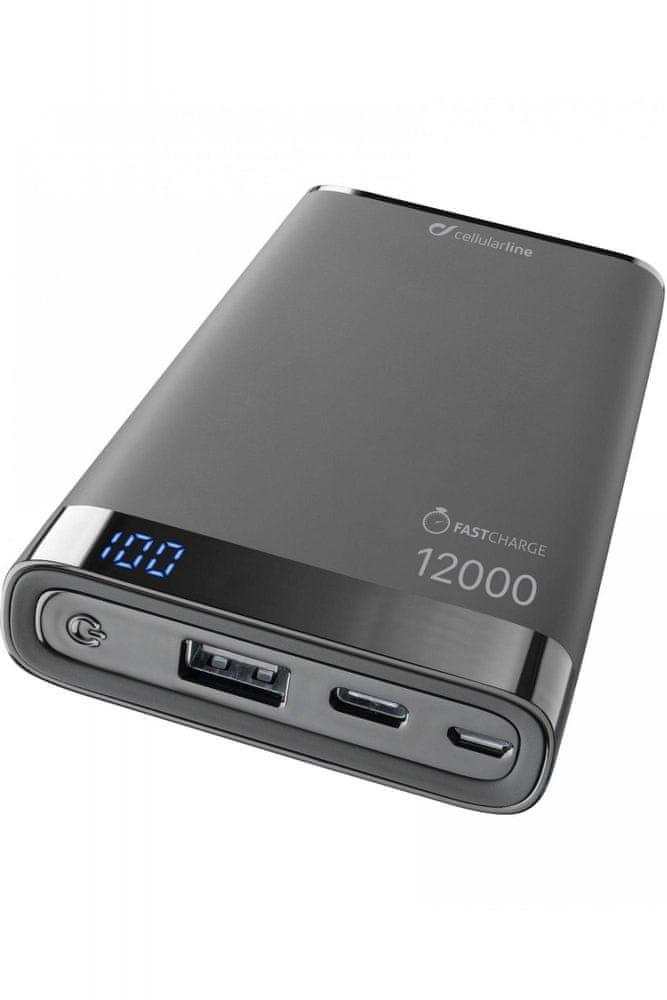 CellularLine Prémiová powerbanka FREEPOWER MANTA S, 12000mAh, USB-C + USB port, černá, FREEPMANTA12U