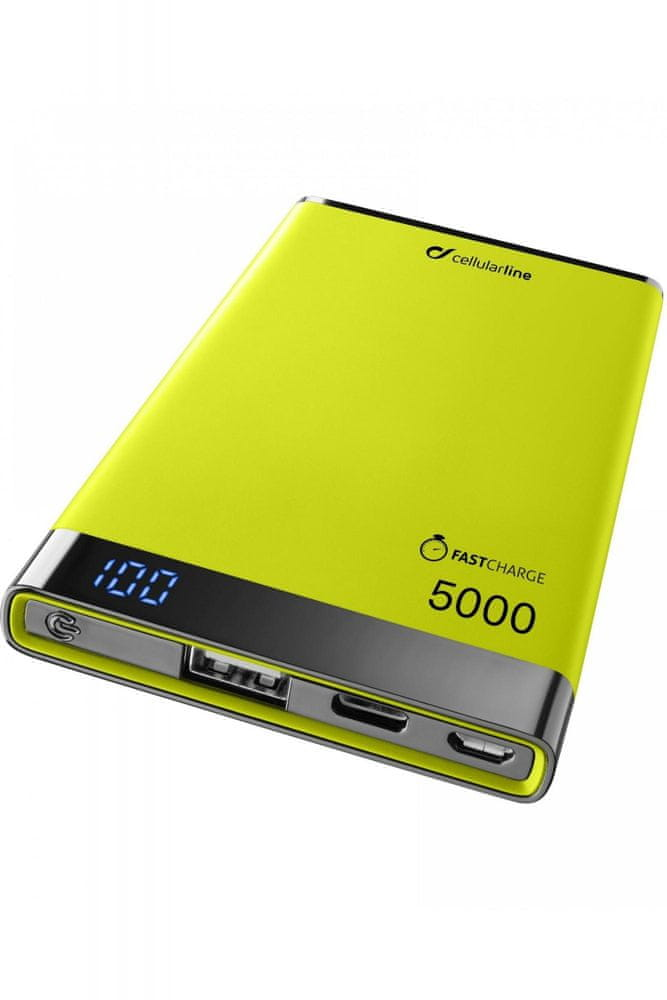 CellularLine Prémiová powerbanka CellularLine FREEPOWER MANTA S, 5000mAh, USB-C + USB port, žlutá, F