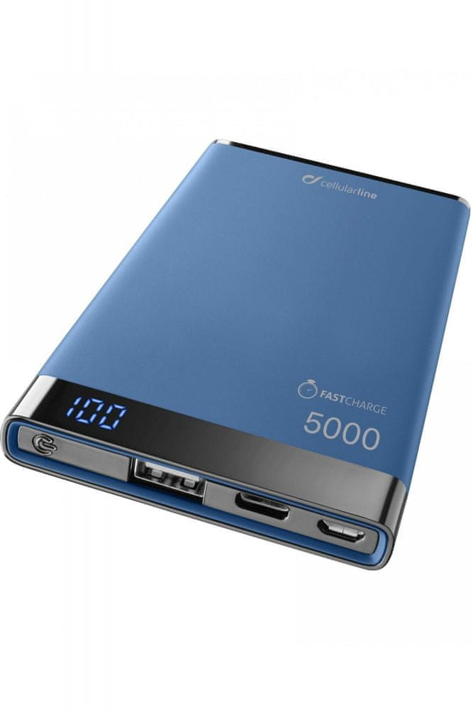 CellularLine Prémiová powerbanka CellularLine FREEPOWER MANTA S, 5000mAh, USB-C + USB port, modrá, F