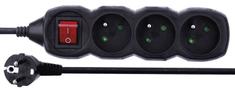 Emos Prodlužovací kabel s vypínačem, 3 zásuvky, 1,5 m, černý