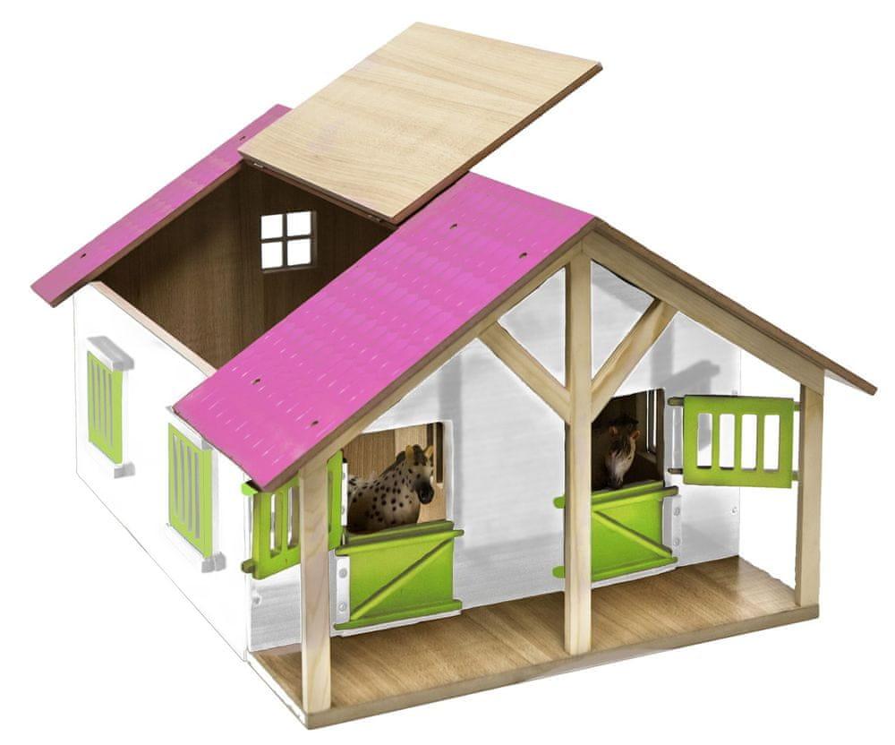 Stáj pro koně dřevěná 51x40,5x27,5 cm růžová 1:24
