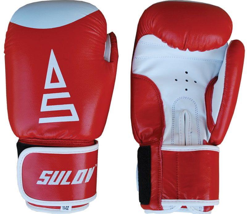 Sulov Box rukavice kožené 8 oz., červeno-bílé