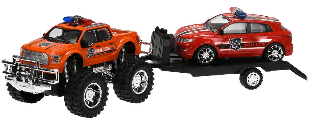 Mikro hračky Terénní auto Policie s přívěsem 58cm na setrvačník + auto na setrvačník,oranžová