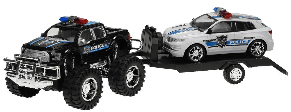 Mikro hračky Terénní auto Policie s přívěsem 58cm na setrvačník + auto 22 cm na setrvačník, černá