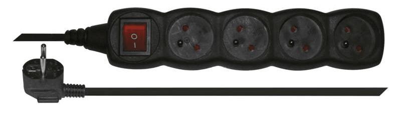 Emos Prodlužovací kabel s vypínačem, 4 zásuvky, 3 m, černý