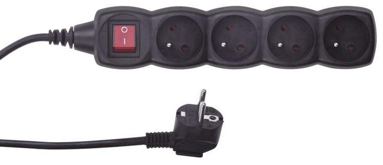 Emos Prodlužovací kabel s vypínačem, 4 zásuvky, 5 m, černý