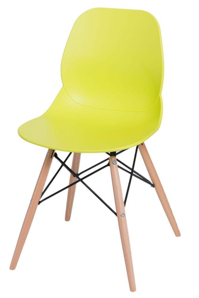 Mørtens Furniture Jídelní židle s dřevěnou podnoží Skikt, limetková