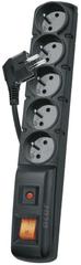 EMOS Prepäťová ochrana 5 zásuviek, 1,5 m, čierna