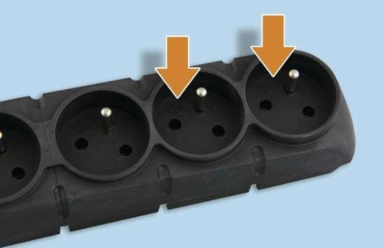 EMOS Túlfeszültség elleni védelem, 5 aljzat, 1,5 m, fekete