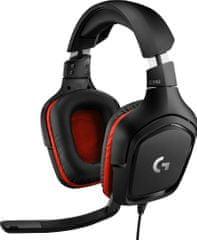 Logitech G332 gaming slušalke z mikrofonom, črno-rdeče