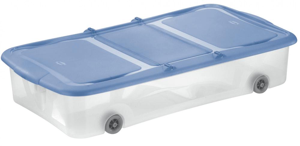 Tontarelli STOCK Box 27,5L s víkem transparent/světle modrá;74X39.5XH15CM, kolečka