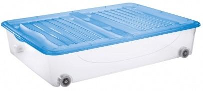 Tontarelli DODO STOCK-BOX s víkem, kolečka 56,4L transparent/světle modrá;79X59XH16.9CM
