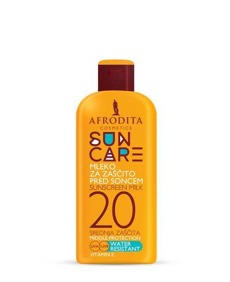 Kozmetika Afrodita mleko za sončenje Sun Care, vodoodporno F20, 200ml