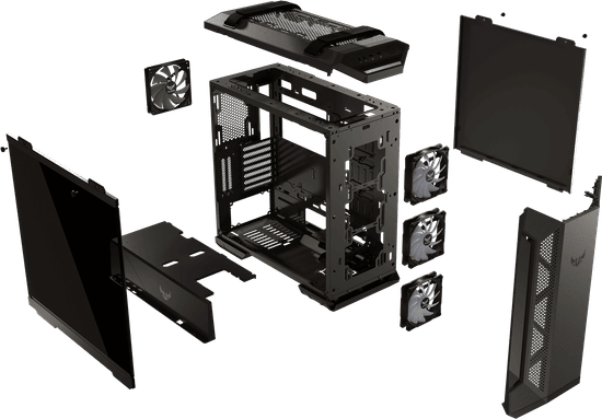 Asus ohišje TUF GAMING GT501, AURA RGB, črno - Odprta embalaža