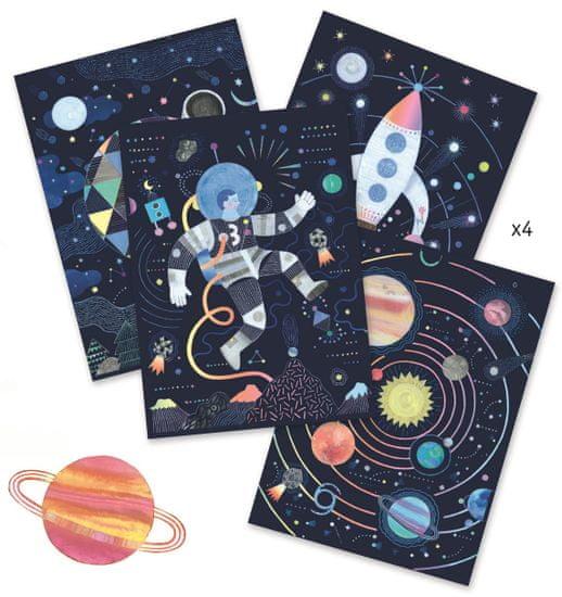 Djeco Vyškrabávací obrázky Vzhůru do vesmíru