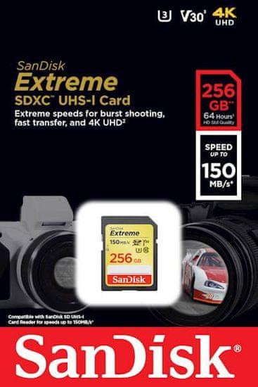 SanDisk pomnilniška kartica SDXC, 256 GB, Extreme, 150/70MB/s