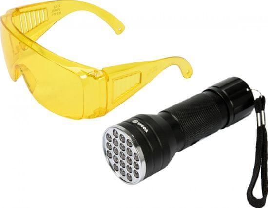 Vorel Kereső készlet UV lámpával és védőszemüveggel