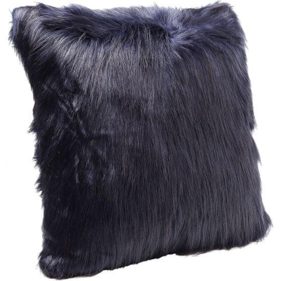 KARE Polštářek Ontario Fur - tmavě modrý, 60×60 cm