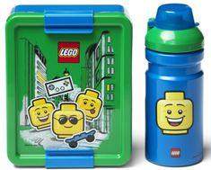 LEGO Iconic Boy tízórai szett üveg és tároló - kék/zöld
